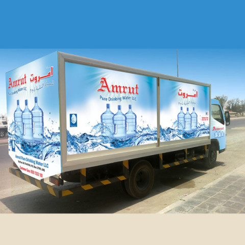 vehicle branding amrut water company
